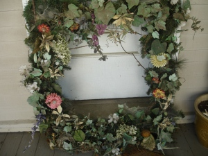Old front door wreath