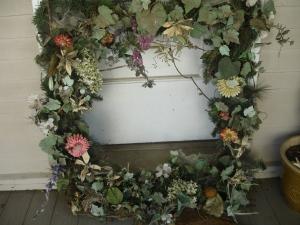 Old front door wreath