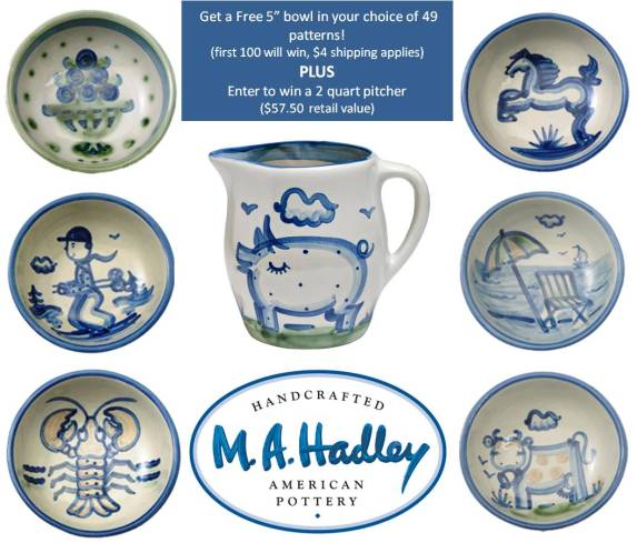Hadley Pottery giving away 100 bowls and a pitcher
