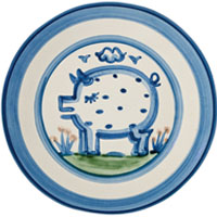 Stoneware Pig plate from Hadley Pottery
